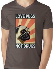 Love Pugs Not Drugs Mens V-Neck T-Shirt