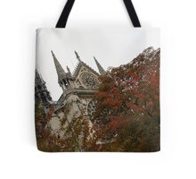 Cruising Down the Seine River and Catching a Glimpse of Notre-Dame de Paris Tote Bag