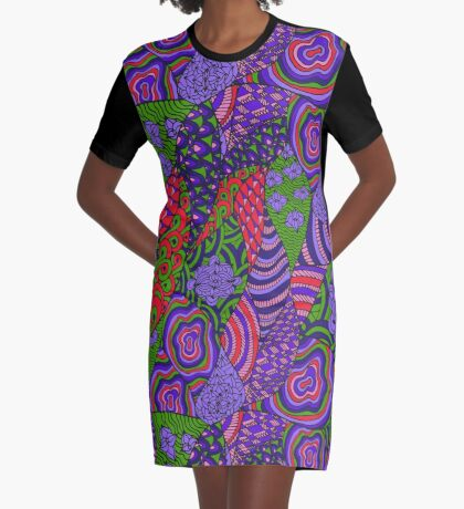 60s hippie abstract print Graphic T-Shirt Dress