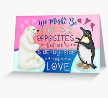 Cute Valentine's Day Polar Bear Penguin Love Greeting Card