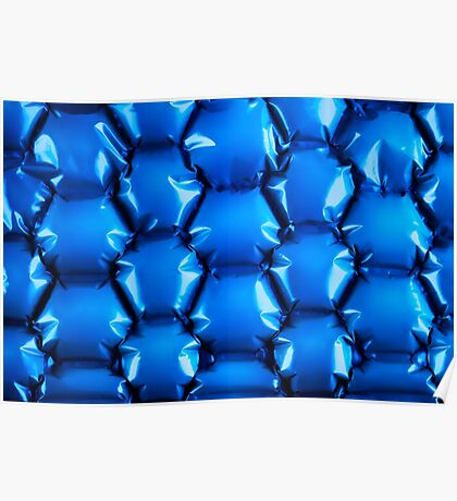 Hexagonal blue bubble textured background Poster