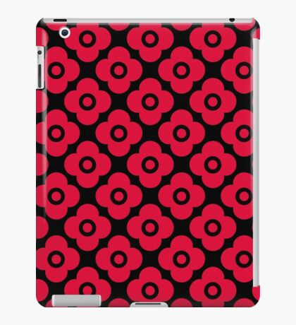 Red black floral pattern . iPad Case/Skin