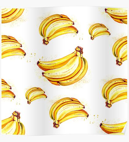 Watercolor summer fruit banana pattern on white background Poster