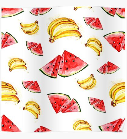 Watercolor summer fruit banana and watermelon pattern on white background Poster