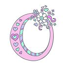 Letter O monogram hearts and flower graphic drawing by Sarah Trett