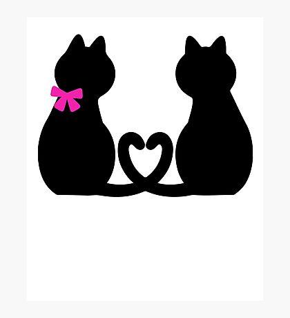 Cute Black Cat Red Heart Girlfriend Boyfriend Gifts Photographic Print