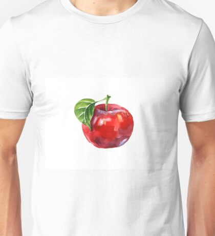 Watercolor summer insulated red apple on white background Unisex T-Shirt