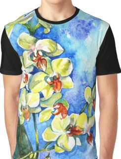Watercolor yellow summer orchid on blue background Graphic T-Shirt