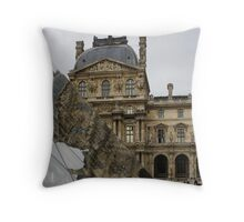 Paris - Louvre Reflecting in the Pyramid  Throw Pillow
