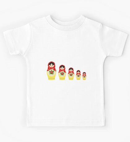 Red russian matryoshka nesting dolls Kids Tee