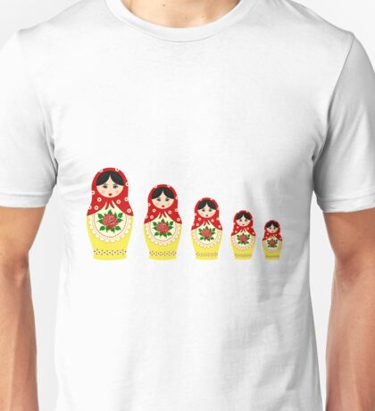 Red russian matryoshka nesting dolls Unisex T-Shirt