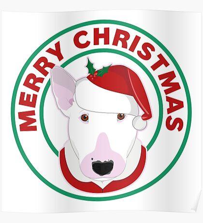 Merry Christmas Bull Terrier Poster