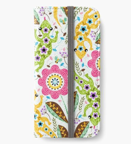 Floreal lizards in white iPhone Wallet/Case/Skin