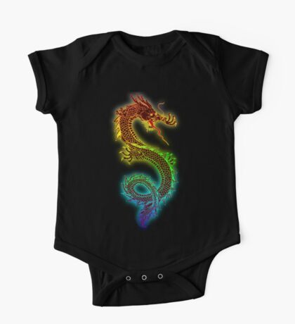 Traditional Chinese dragon in rainbow colors One Piece - Short Sleeve
