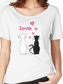 couple cats with love Women's Relaxed Fit T-Shirt