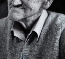 Old man indoor, monochrome toned Sticker