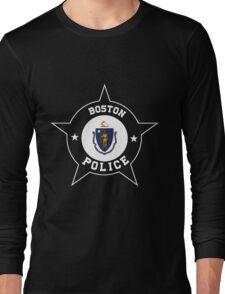 Boston Police T Shirt - Massachusetts flag Long Sleeve T-Shirt