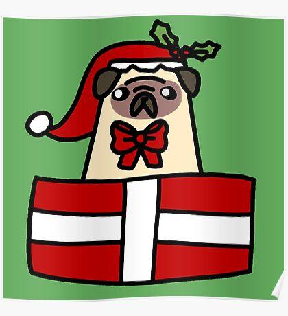 Christmas Gift Pug Poster