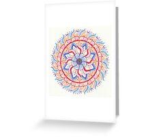 Mandala Orange Blue Greeting Card