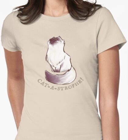 Cat - A - Strophie Womens Fitted T-Shirt