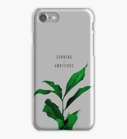 Cunning And Ambitious Quote on Green Floral Background iPhone Case/Skin
