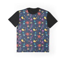 marine world pattern with fish, whale, octopus, jellyfish,  starfish, anchor and seaweed Graphic T-Shirt