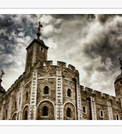 Dramatic View Of The White Tower In The Tower Of London Sticker