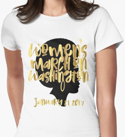 Gold Bling LGBTQ Gay Pride Rainbow Lesbian Womens March On Washington January 21 2017 WMW Inauguration Civil Rights Black Girl Magic Melanin Queen Strong Afro Womens Fitted T-Shirt