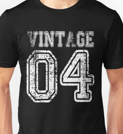 Vintage 04 2004 T-shirt Birthday Gift Age Year Old Boy Girl Cute Funny Man Woman Jersey Style Unisex T-Shirt