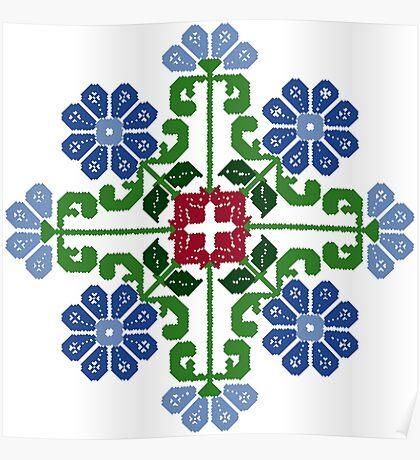 8 bit Flower traditional design pattern  Poster