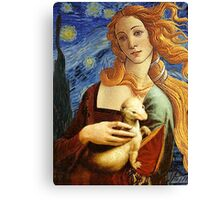 Venus with a Ermine in a Starry Night Canvas Print