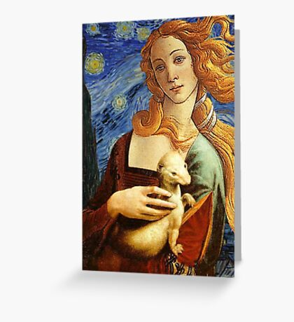 Venus with a Ermine in a Starry Night Greeting Card