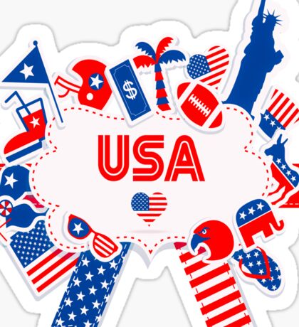 American Independence Day Badge Sticker