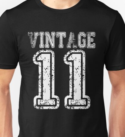 Vintage 2011 11 T-shirt Birthday Gift Age Year Old Boy Girl Cute Funny Man Woman Jersey Style Unisex T-Shirt