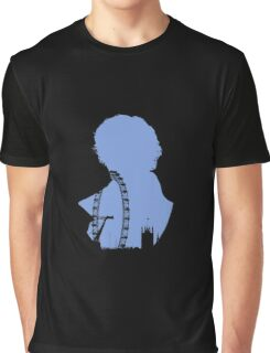 Sherlock Silhouette - Blue Graphic T-Shirt