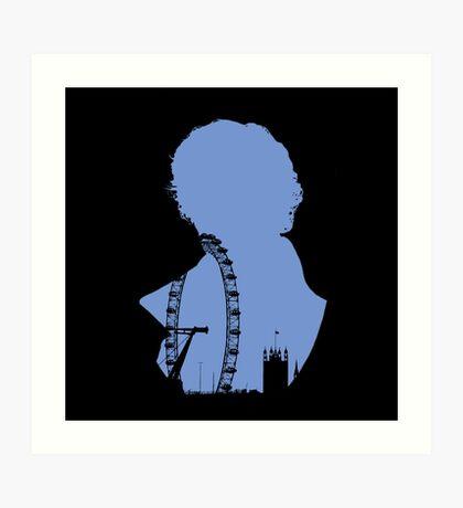 Sherlock Silhouette - Blue Art Print