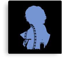 Sherlock Silhouette - Blue Canvas Print