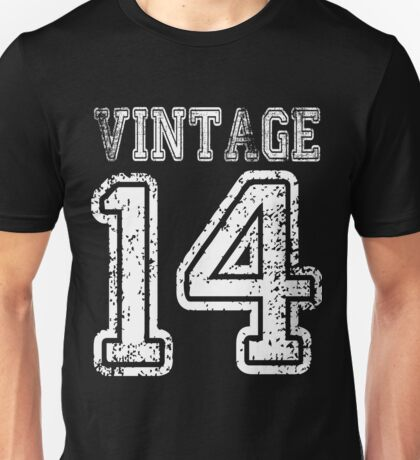 Vintage 14 2014 1914 T-shirt Birthday Gift Age Year Old Boy Girl Cute Funny Man Woman Jersey Style Unisex T-Shirt