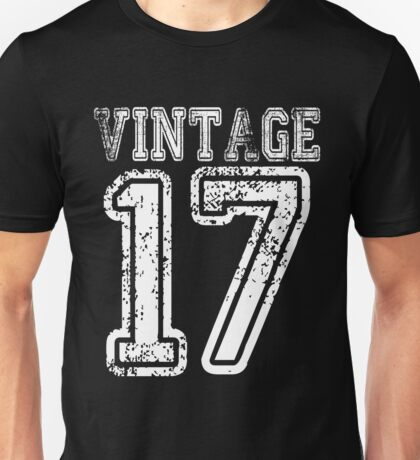 Vintage 17 2017 1917 T-shirt Birthday Gift Age Year Old Boy Girl Cute Funny Man Woman Jersey Style Unisex T-Shirt