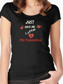 Valentine's Day Love Gifts, Valentine's Presents-Black, Red & White Women's Fitted Scoop T-Shirt
