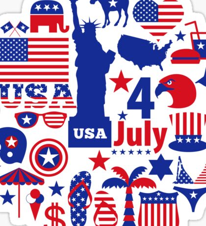 American Independence Day Elements Sticker