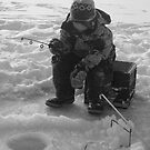 Daddy's Ice fishing buddy. by Christopher Clark