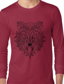 Adult Coloring Book Inspired Lion Long Sleeve T-Shirt