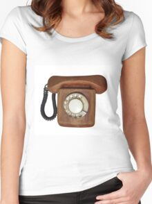 Wooden telephone Women's Fitted Scoop T-Shirt