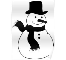 Snowman, winter, Christmas, cold, snow, snowflakes Poster