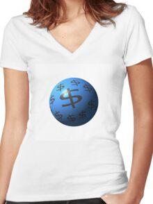 Dollar Sphere Women's Fitted V-Neck T-Shirt
