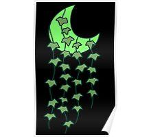 Green Leaf Crecent Moon Poster
