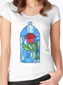 Stained glass Rose  Women's Fitted Scoop T-Shirt