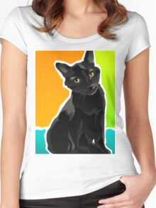 SALOM - Domestic Shorthair Black Cat Women's Fitted Scoop T-Shirt