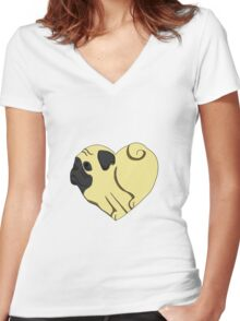 Heart Pug Women's Fitted V-Neck T-Shirt
